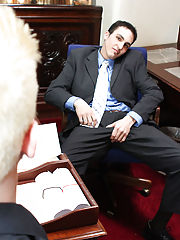 He finally caves in to Mr. Perelli's requests and gets on his knees to suck his long hard dick gay anal first time at My Gay Boss