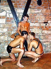 Set in a oubliette, 3 cum-hungry gay studs in leather plan a gay mating party dominant men gay bondage pics