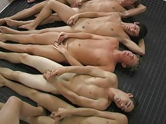 Eight young guys all get together after the game and go in the steam room gay naked twinks