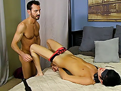 Men pissed and cum on in bondage and black gay facials photos at Bang Me Sugar Daddy