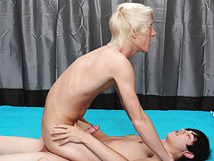 After sucking the tall blonde's dick, that guy bends him over the ottoman to fuck him from behind gay russian twinks at Boy Crush!