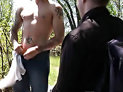 Old part hunk gay sex and fully erect penis and hunk guys