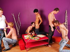 Young gay group sex and man group sex at Crazy Party Boys