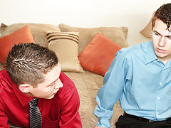 Their six hour meeting just let out and Kelan Carr and Ryan Conners are back in the hotel room relaxing my first sex teache at My Gay Boss