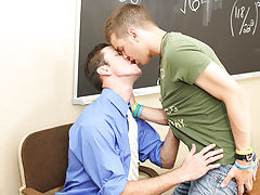 He finds himself sitting on his teacher's desk while Mr. Brooks sucks his dick his first gay bj at Teach Twinks