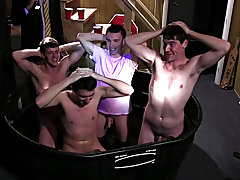 Pledges in saran wrap, bobbing for dildos, and jalapeno gargle jobs, that sounds like some serious hazing, the type of hazing winners do. that's