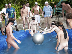 these poor pledges had to play blind folded in this hole in the ground filled with water nude mens group