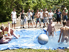 I mean its not embarrassing sufficiently playing bare in a wicked fake pool gay group sex 6 guys