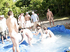 There is no thing like a fine summer time splash, especially when the pool is man made and ghetto rigged as fuck guy group sex