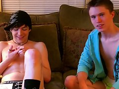 Gay kissing piss and balls peeking out of his shorts - at Boy Feast!