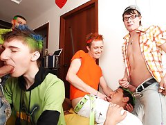 Group sex gay guys and group men pissing at Crazy Party Boys