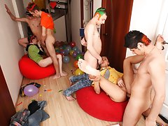 Old gay men fucking group and gay bear group sex at Crazy Party Boys
