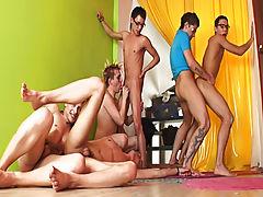 Gay group orgies and gay group orgy pics at Crazy Party Boys