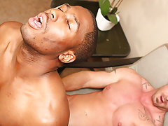 JP receives down to service Mitch's hard knob before he impales himself and rides it gay interracial studs at My Gay Boss