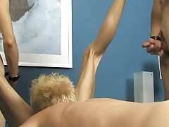 He's bound to a most good post, being rubbed and sucked by a group of beautiful twinks who make him teeter on the edge of agonorgasmos the whole