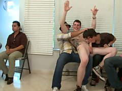 Gay leather groups and gay guys group sex at Sausage Party