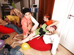 Group men sex and gay facial video group at Crazy Party Boys
