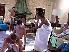 The capa lads are prepping for their toga party by having their pledges clean up the frat house and wrestle for invitations to the party of the year