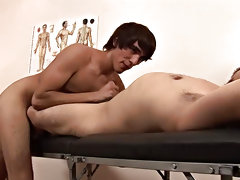 The twink understands it all, they start making out, and in a short time the dark guy is mouthing the doctor's supplementary rigid tool gay anal