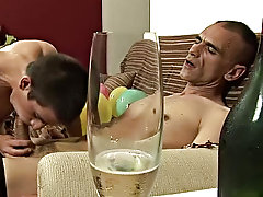 After sucking him stiff, the boy is the one that's screaming happy new year at the cork of his lungs while his ass is slammed and his chest is ji