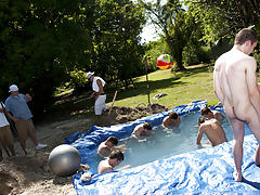 I mean its not embarrassing enough playing naked in a nasty fake pool gay group blow job