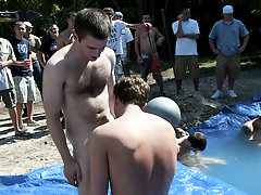 these poor pledges had to play blind folded in this oubliette in the ground filled with water gay groups jocks olde