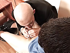 The boy willingly works on the teacher's filthy hole, and, grateful, his older partner licks the cock clean, helping the wretch to cream his smut
