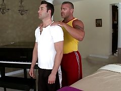 When I showed up to his house he seemed like a good enough morsel to take advantage of so I got to work right away massaging his hard body furry gay b