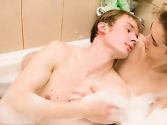 Jacob and Timmy fucking discriminative young guys making sex first off time in bath wet gay facials at Boys Fox