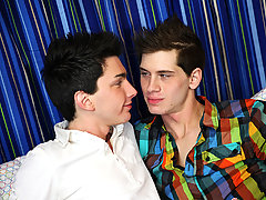 It starts with delicious kissing and they're both lost in the passion of the scene first time gay blow job