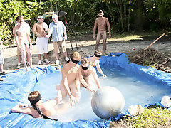 I mean its not embarrassing enough playing naked in a nasty fake pool gay fisting group