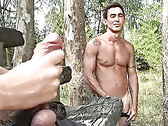 Being unaccompanied in the sun-drenched forest was more than the crony could handle without getting horny as affliction hot gay outdoor sex orgy