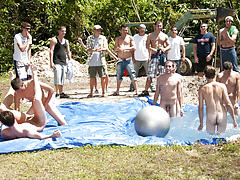 these poor pledges had to play blind folded in this hole in the ground filled with water group gay blowjob