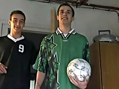Soccer wretch Steve and his huge 10 inch fiendishness cock get caught in the locker room at hand two other guys wanking on some underwear he found fre