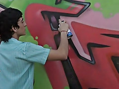 He is seen spraying the wall with his binge spray teen boy big penis