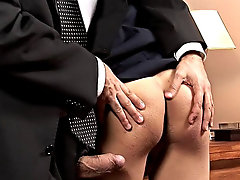 Some pretty fetid fingering takes place then, and right afterwards the dirty boss slams into the urchin's hole with his mean fat cock 2 gay twink