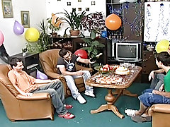 These 4 hot guys effective know how to throw a party and take a good in good time always gay army group fucking