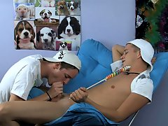 He goes to his new friend Kayden Daniels' home where lollipop sucking turns into cock sucking male cum swallow dudes movi