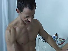 Tensing every muscle in my body I wanted to put on a good show for the doc gay handjob cum