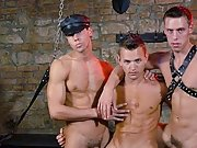 Set in a dungeon, 3 cum-hungry gay studs in leather script a gay sex party male male bondage