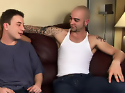 His first huge cock interracial gay threesomes